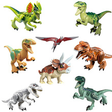 Jurassic World 8 Pcs/set Dinosaurs Building Blocks Figures Bricks Tyrannosaurus Classic Toys gift Legoings