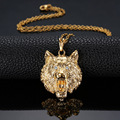 Wolf Head Creative Design Jewelry Fashion Necklace Yellow Gold Plated Pendant for Men
