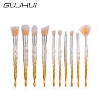 10Pcs Hot Sales Yellow Blending Pencil Foundation Eye Shadow Makeup Brushes Eyeliner Brush Wholesales Beauty Girl