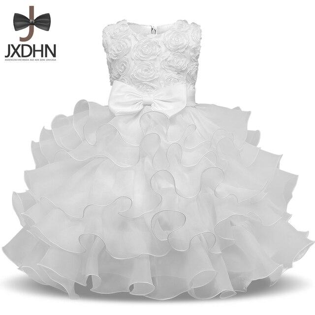 Bebé blanco pétalo vestido bebes boda 1 años princesa cumpleaños ...