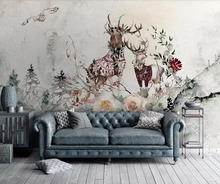 Customized 3d mural elk flower modern minimalist background wall decoration painting wallpaper photo