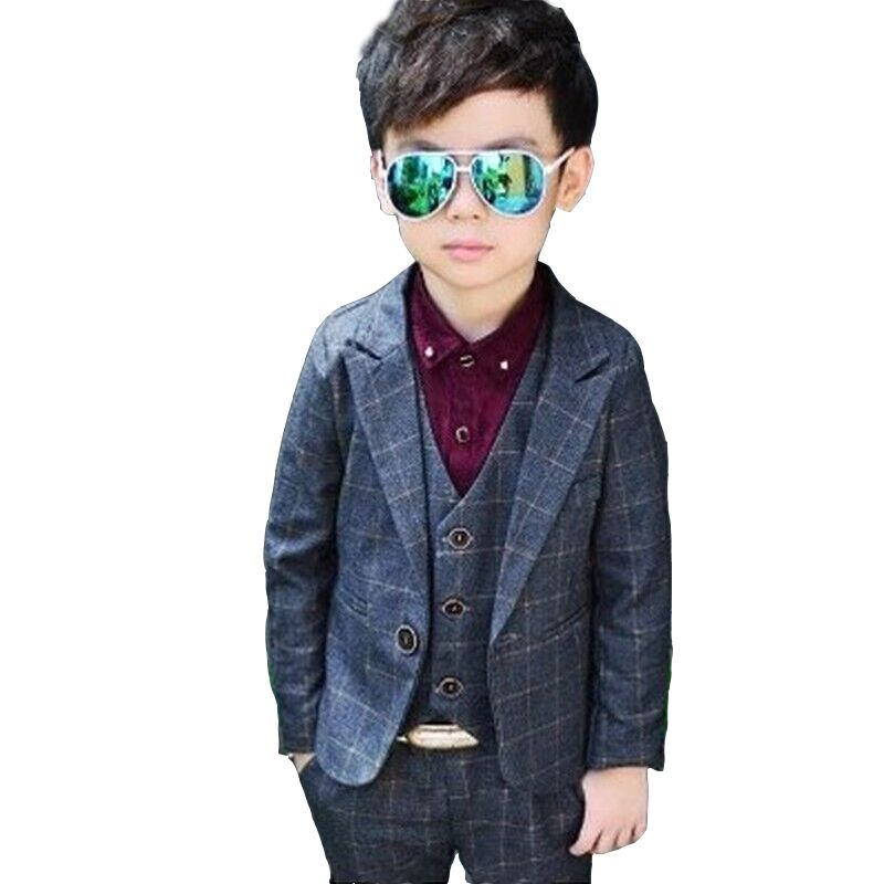 c322a6698 2019 New Vest Blazer Pant 3PCS Kids Plaid Wedding Blazers Suits ...