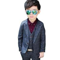 2019 New Vest Blazer Pant 3PCS Kids Plaid Wedding Blazers Suits Brand Boys Formal Tuxedos School Suit Kids Spring Clothing Set