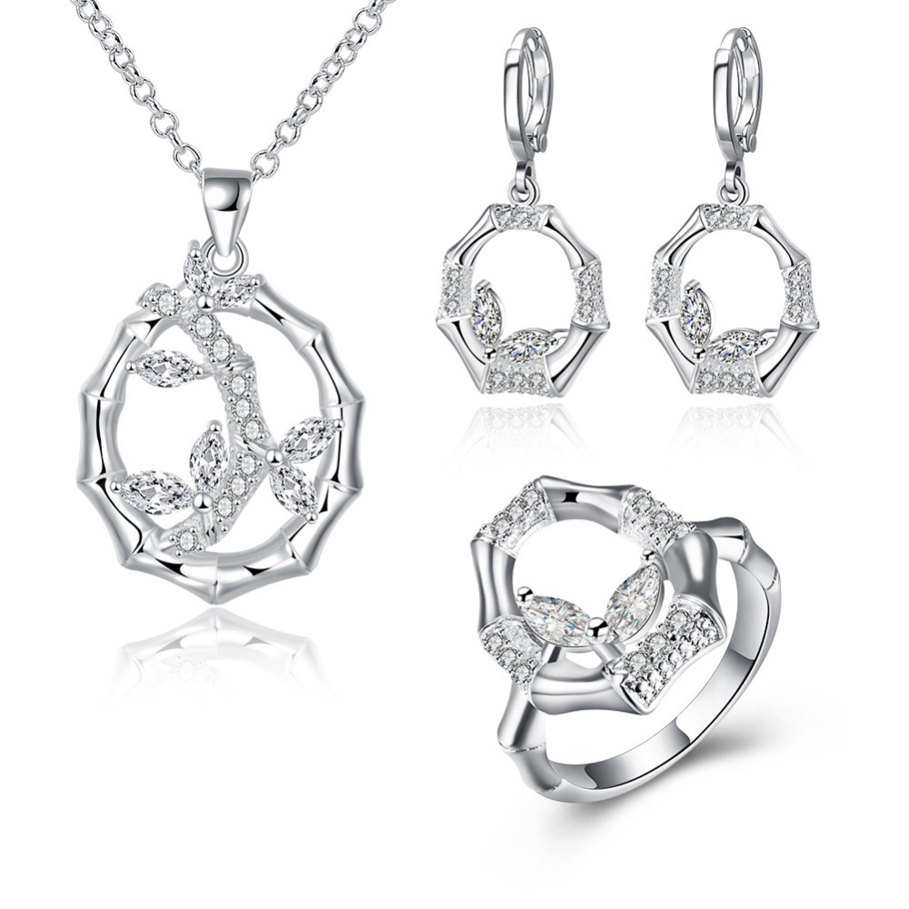 Jewelry-Sets 925-Sterling-Silver Crystal Austrian Earrings/ring-Party-Accessory Women