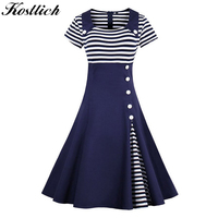 Kostlich Striped Summer Dress Women 2017 Short Sleeve Hepburn 1950s Style Vintage Elegant Swing Party Dresses