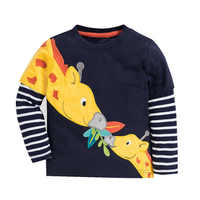2019 garçons T shirt enfants T shirt automne T-shirt Animal broderie hauts girafe Koszulka dinosaure Koszulki Meskie T-shirt Enfant nouveau