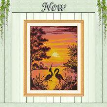 The crane shadow in sunset Painting 11CT Counted print on Canvas DMC 14CT chinese Cross Stitch diy Embroidery kit Needlework Set(China)