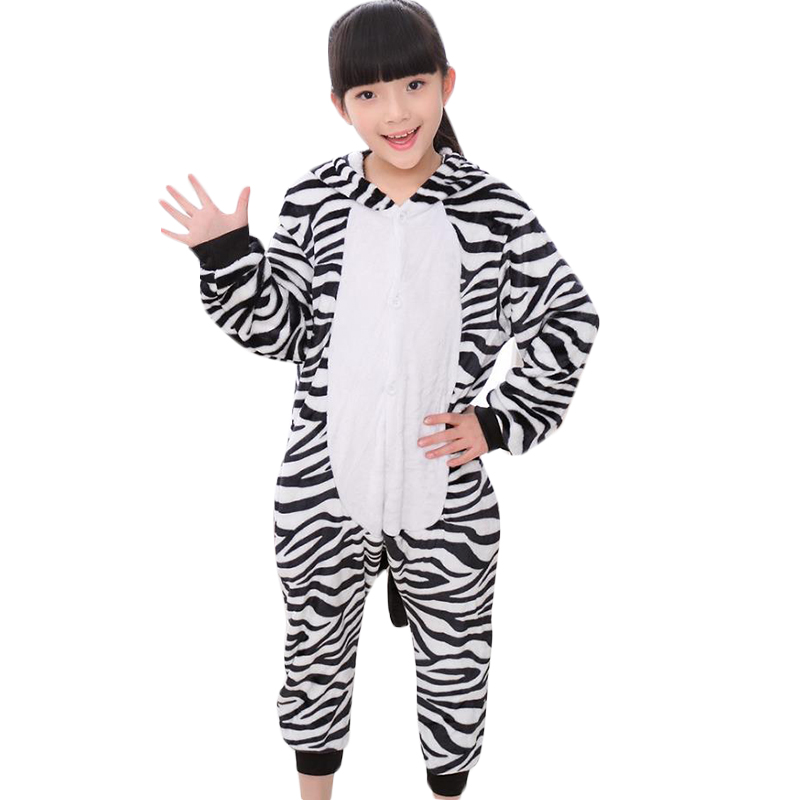 Kid Cute Zebra Jumpsuit Cosplay,Boys Girls Party Clothes Flannel Pajamas Children Pyjamas Hooded Sleepwear Animal Owl Cosplay