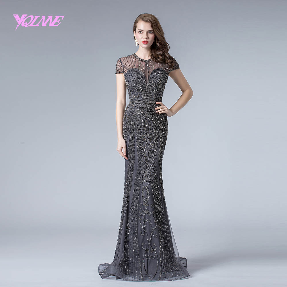 YQLNNE Gray Rhinestones   Evening     Dress   Long 2019 Mermaid Pageant   Dresses   Formal   Evening   Gown Cap Sleeve