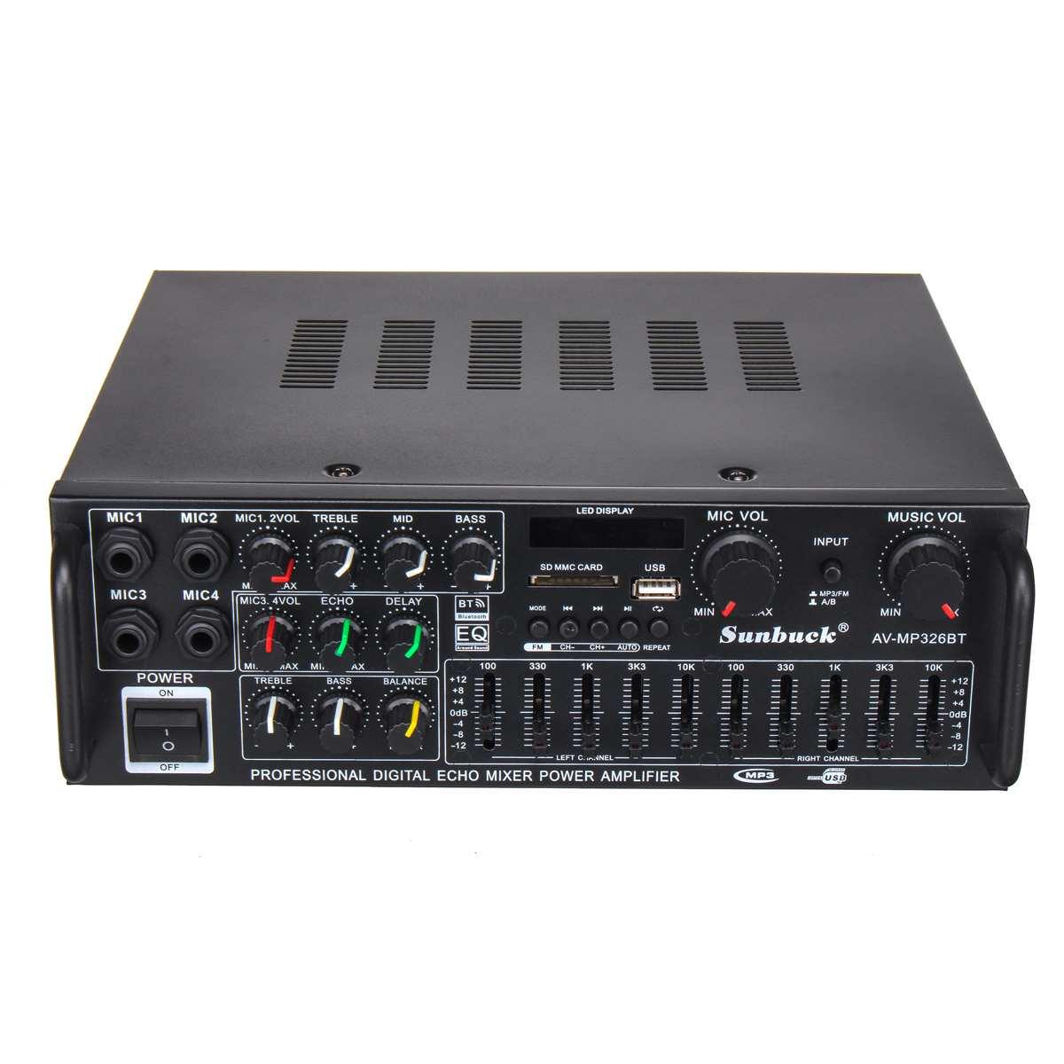2000W 110 V/220 V 2 canaux bluetooth maison stéréo puissance amplificateur Audio USB SD amplificateurs à distance amplificateur de Subwoofer - 2
