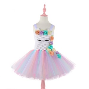 Image 3 - Moeble Flower Unicorn tutu Dresses girls with headband Halloween Christmas Cosplay Costume Children Kids Birthday party dresses