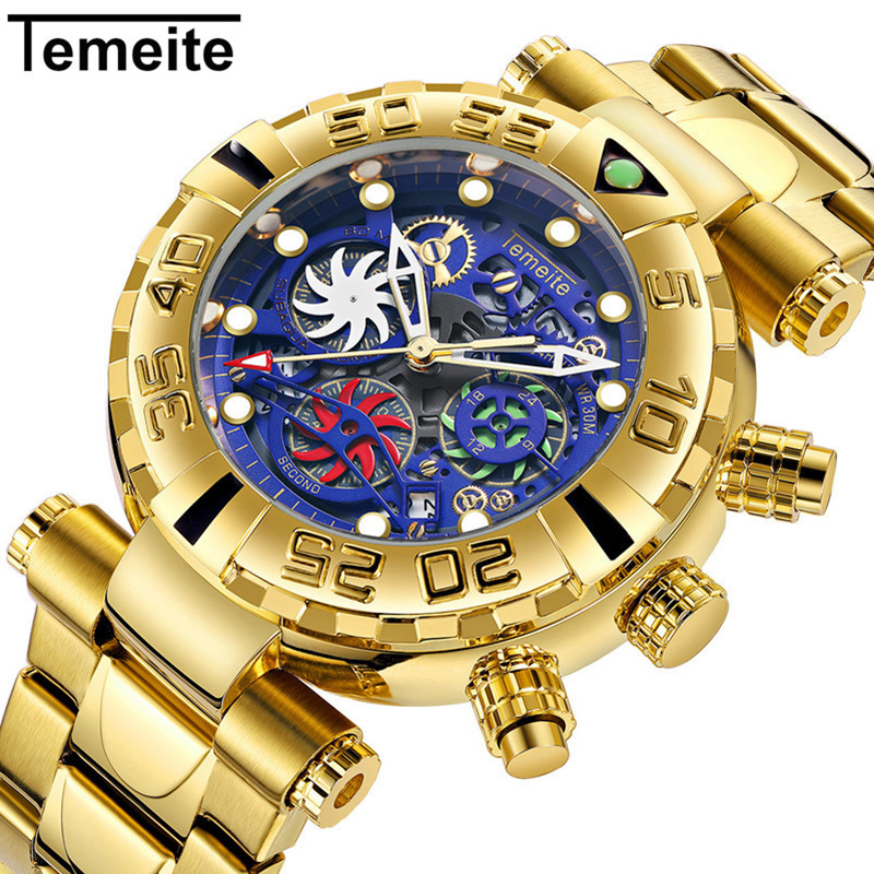 Temeite Mens Watches Top Brand Luxury Chronograph Golden Stainless Steel Waterproof Sport Watch Men Brand Reloj Hombre 2019