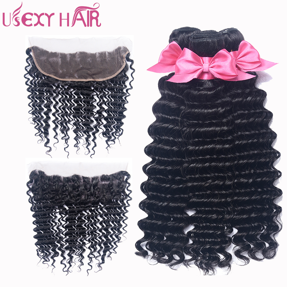 USEXY HAIR Indian Human Hair Bundle With Lace Frontal Closure Deep Wave Hair Bundles With 13*4 Lace Frontal Closure Remy Hair