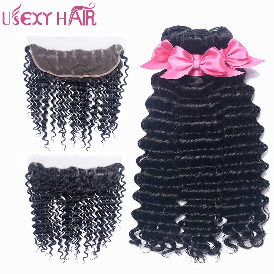 USEXY волосы индийские натуральные волосы Комплект с закрытием кружева фронтальной глубокая волна волос Комплект s с 13*4 кружева фронтальной застежка Волосы remy