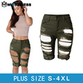 Owlprincess 2016 New Europe Style High Waist Fashion Half Ripped Jeans Street Hole Pants Slim Torn Femme Army Green Denim Shorts