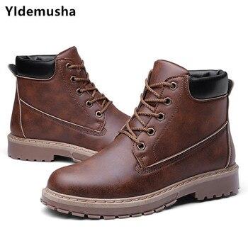 af3880c57a 2018 High quality Split PU Leather Men Boots Dr Martin Boots shoes