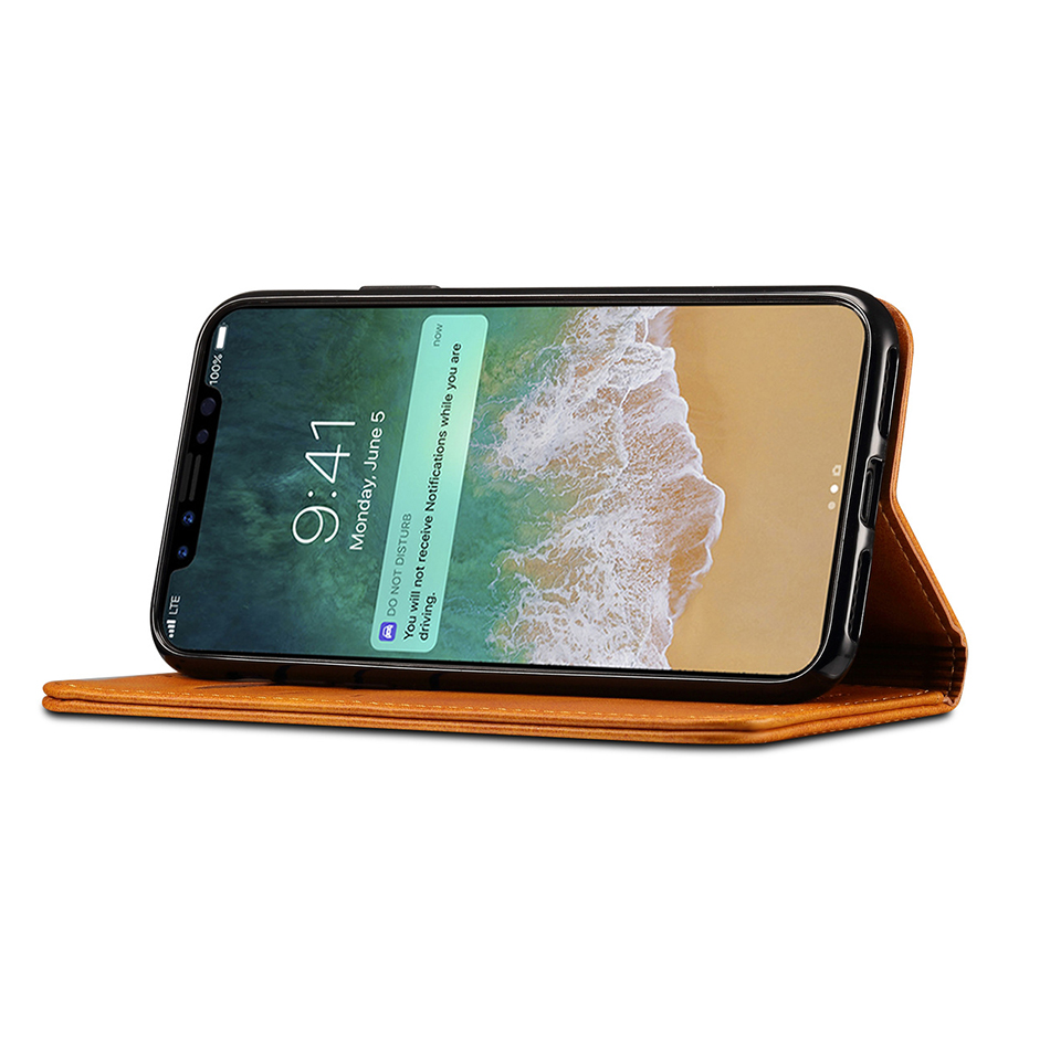 !ACCEZZ Luxury Leather Phone Case Card Pocket Full Protective Cover For iphone X XS MAX XR Wallet Flip Cases Shell Stand Holder (12)