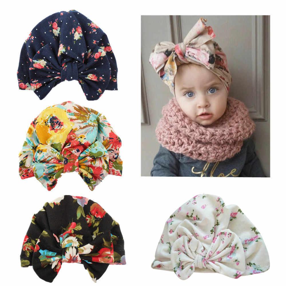 น่ารักทารกแรกเกิดเด็กวัยหัดเดินเด็กทารกเด็กทารกเด็ก Turban หมวกผ้าฝ้ายหมวกหมวกฤดูหนาวอุ่นพิมพ์หมวกดอกไม้ขนาดใหญ่โรงพยาบาลหมวก Beanie หมวก