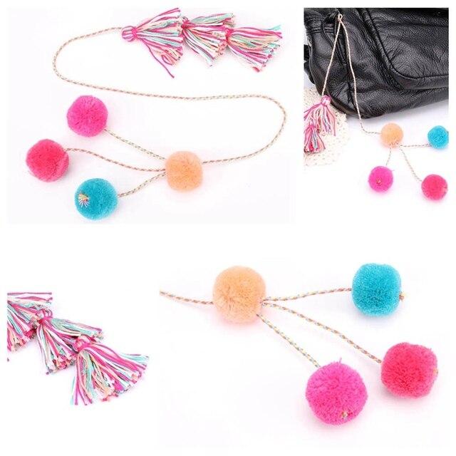 New Fashion Pompom Tassel Key Chains For Women Bag Pom Pom Ethnic Keychain Bohe Jewelry Gift