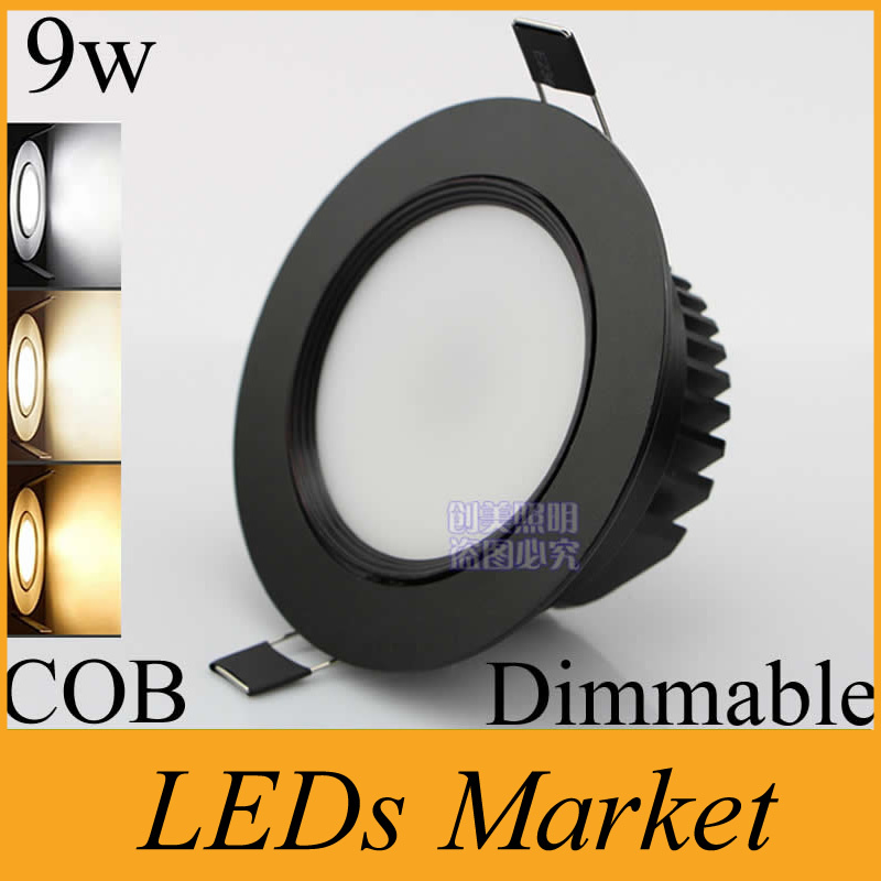 Black shell cob led downlight 9w dimmable led ceiling lamp light black shell cob led downlight 9w dimmable led ceiling lamp light bulb recessed led 110v 220v warm cool white led driver 50000h in downlights from lights aloadofball Gallery