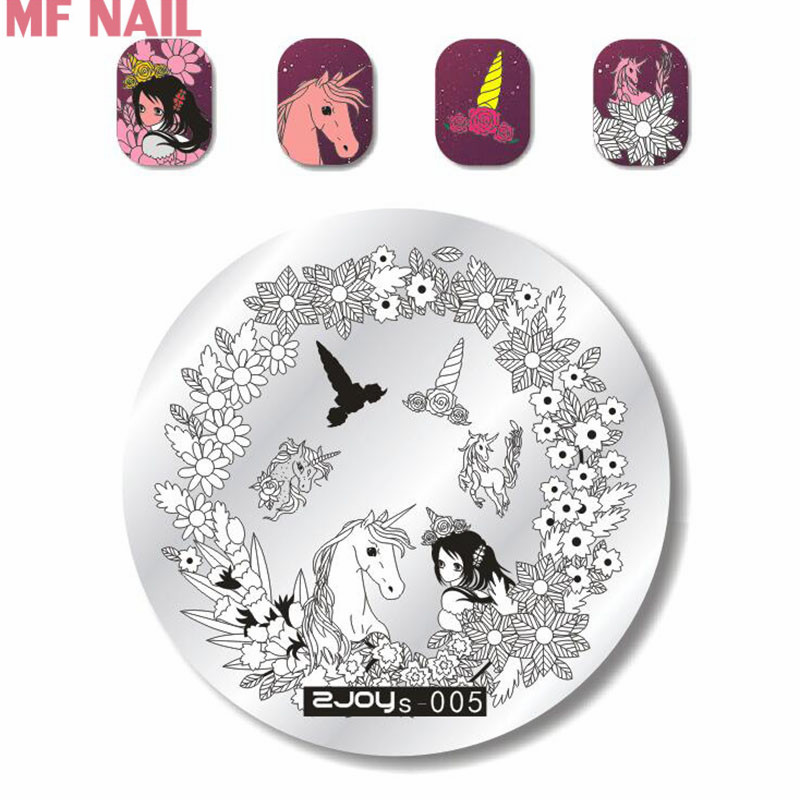 ZJos05 NEW 2018 Nail Art Stamp Plate With Beautiful Flowers Unicorn Pattern Series for DIY Nail Painting Tool OEM Stamping Plate in Nail Art Templates from Beauty Health