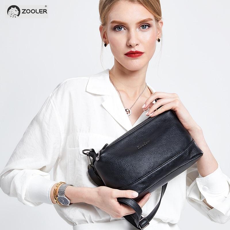 패션 숙녀 가죽 암소 지갑 흑인 여성의 어깨 가방 부드러운 크로스 바디 정품 가죽 가방 여성 ZOOLER bolsa feminina # L112