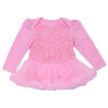 Одежда для новорожденных, одежда для малышей, для девочек, кружевной комбинезон с оборками платье-пачка розовыми цветами для маленьких девочек вечерние платья для 0-24Months