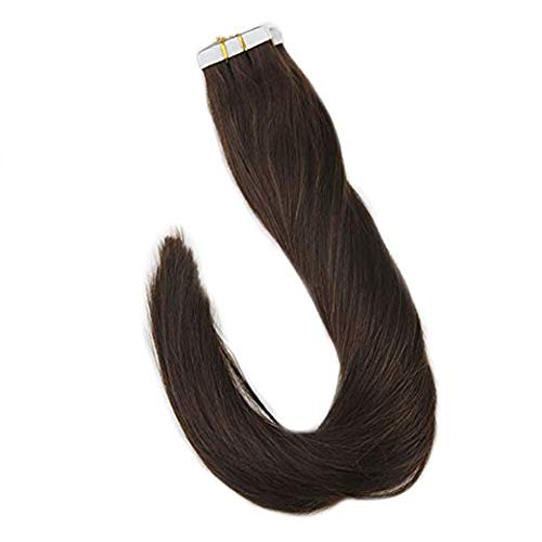 Full Shine Tape On Hair Solid Color #4 Medium Brown 100% Human Hair Tape In Hair Extensions Skin Hair Adhesive Machine Made Remy