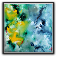 Hand Painted Abstract Oil Painting On Canvas Modern Abstract Green Yellow Picture Wall Art For Home