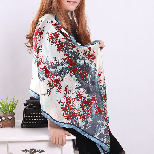 Handmade roll-up hem scarf digital high quality mulberry silk pure silk women's design long silk scarf