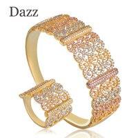 Dazz Luxus Große Empfindliche 3 Ton Frauen Schmuck Sets Gemischt Zirkonia Kupfer Party Hochzeit Saudi Arabisch Dubai Armreif Ring Set