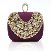 Elegant Beaded Women Evening Bags Diamonds Finger Rings Purse Day Clutches Handbags red/black/champagne Pearl Wedding Bags WY28