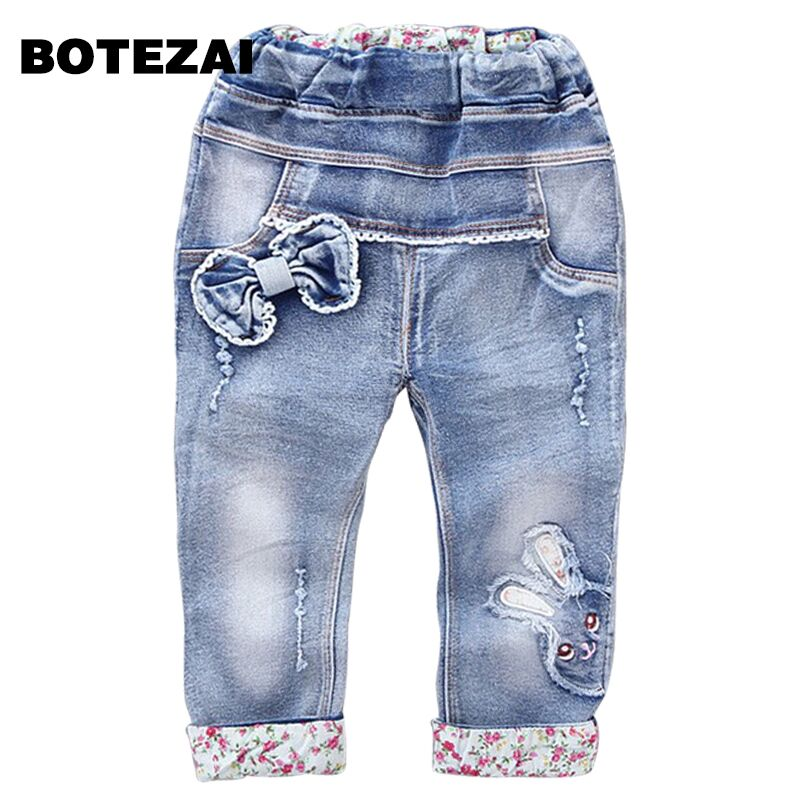 New Arrival Baby Girls Fashion Denim Jeans Girls Floral Belt Skinny Jeans Kids Spring Autumn Jeans Child Long Pants black long jeans woman casual pencil pants girl washed rhinestones hot drilling printing skinny long women jeans capris female