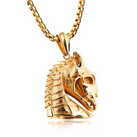 LINSOIR 2017 New Stainless Steel Animal Horse Necklace Pendant For Men Gold Black Plated Vintage Hip