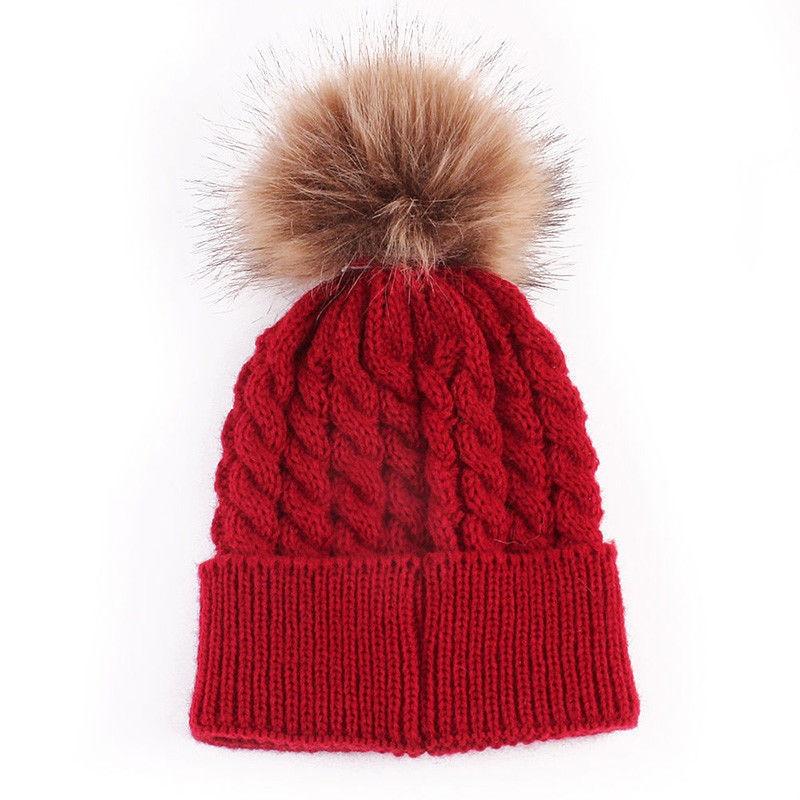 bb706d51f3322 Unisex Causal Men Women Solid Warm Autumn Winter Knit Beanie Fur Pom Hat  Crochet Ski Ball