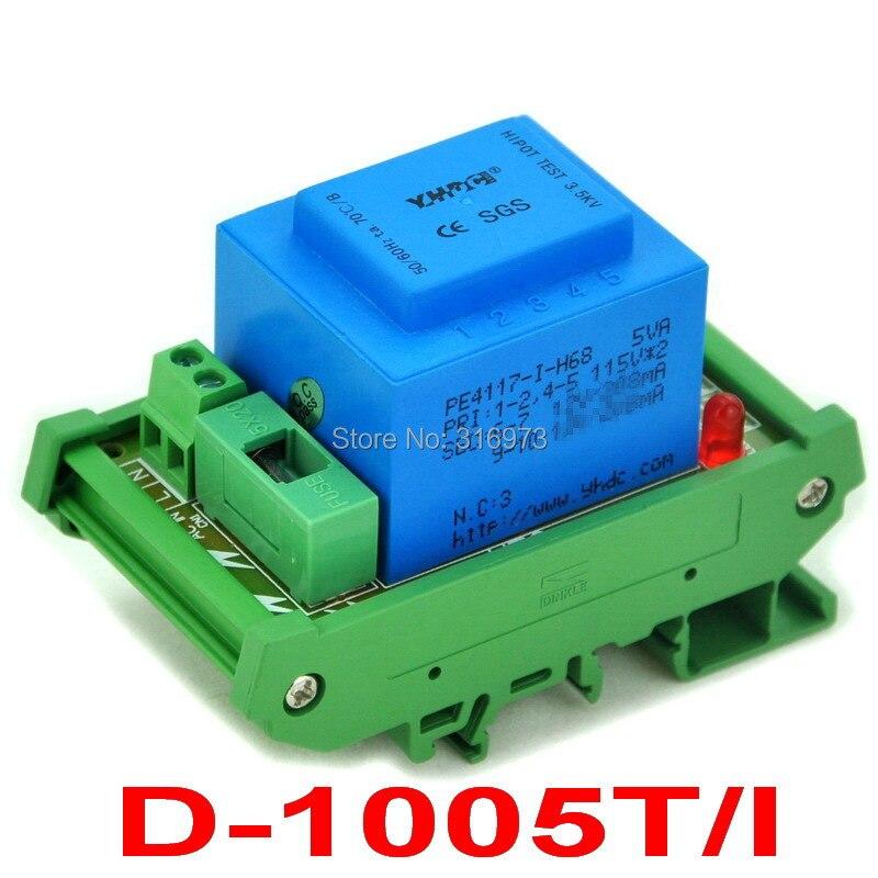 P 115VAC, S 2x 18VAC, 5VA DIN Rail Mount Power Transformer Module,D-1005T/I.