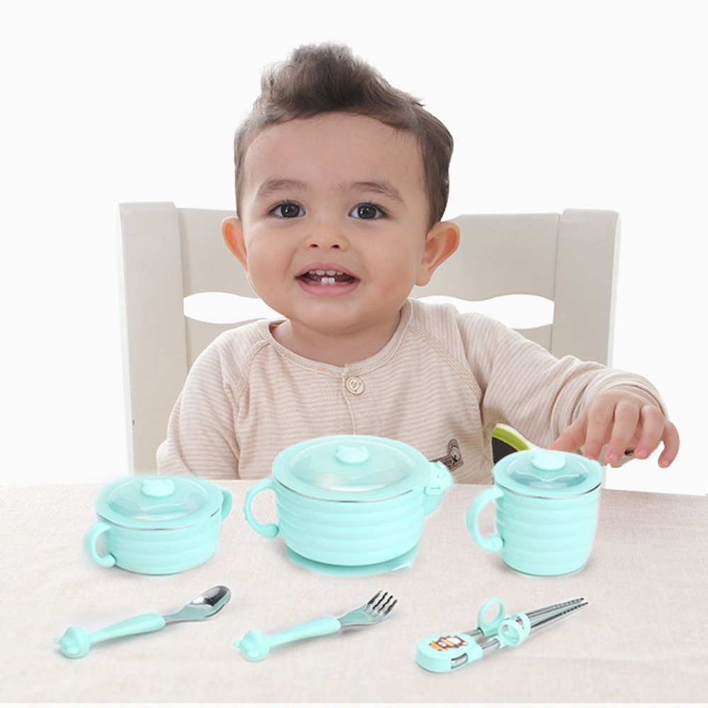 6pcs Training Infant Dinnerware Set Nonslip Suction Cup Baby Bowl Spoon Fork Cup Slip Sucker Kids Feeding Supplies with Handle luxurious stainless steel fork and spoon dinnerware w sparkling acrylic crystal silver pink