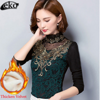 2016 Fashion Embroidery Women Clothing Blusas Winter Women Blouses Shirts Velvet Women Crochet Blouse Lace Shirt
