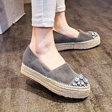 Women's Platform Flats Loafers Slip-on Genuine Leather Leisure Moccasins Espadrilles Brand Designer Rhinestone Shoes for Women