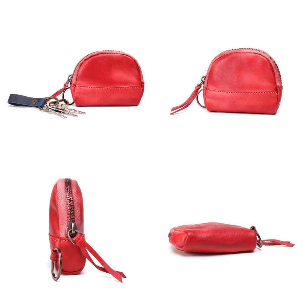 En vente 2019 femmes en cuir véritable porte-monnaie femme portefeuilles femmes Zipper porte-monnaie enfants stockage poche sacs pochette 4 couleur