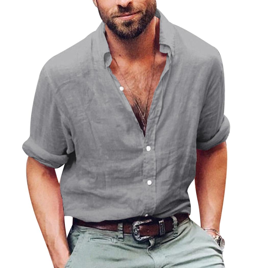 Fashion Brand Mens Linen Shirts Long Sleeve Shirt Casual