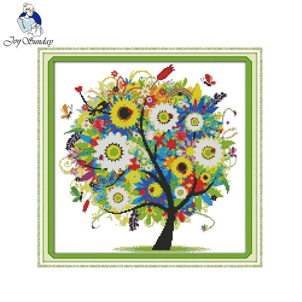 Joy Sunday Happy Tree Cross Stitch Patterns Sets For Embroidery