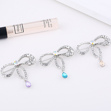 TDQUEEN Rhinestone Bowknot Brooches With Blue Crystal Waterdrop Pendants Silver Color Party Jewellery Gift Wedding Pins Brooch