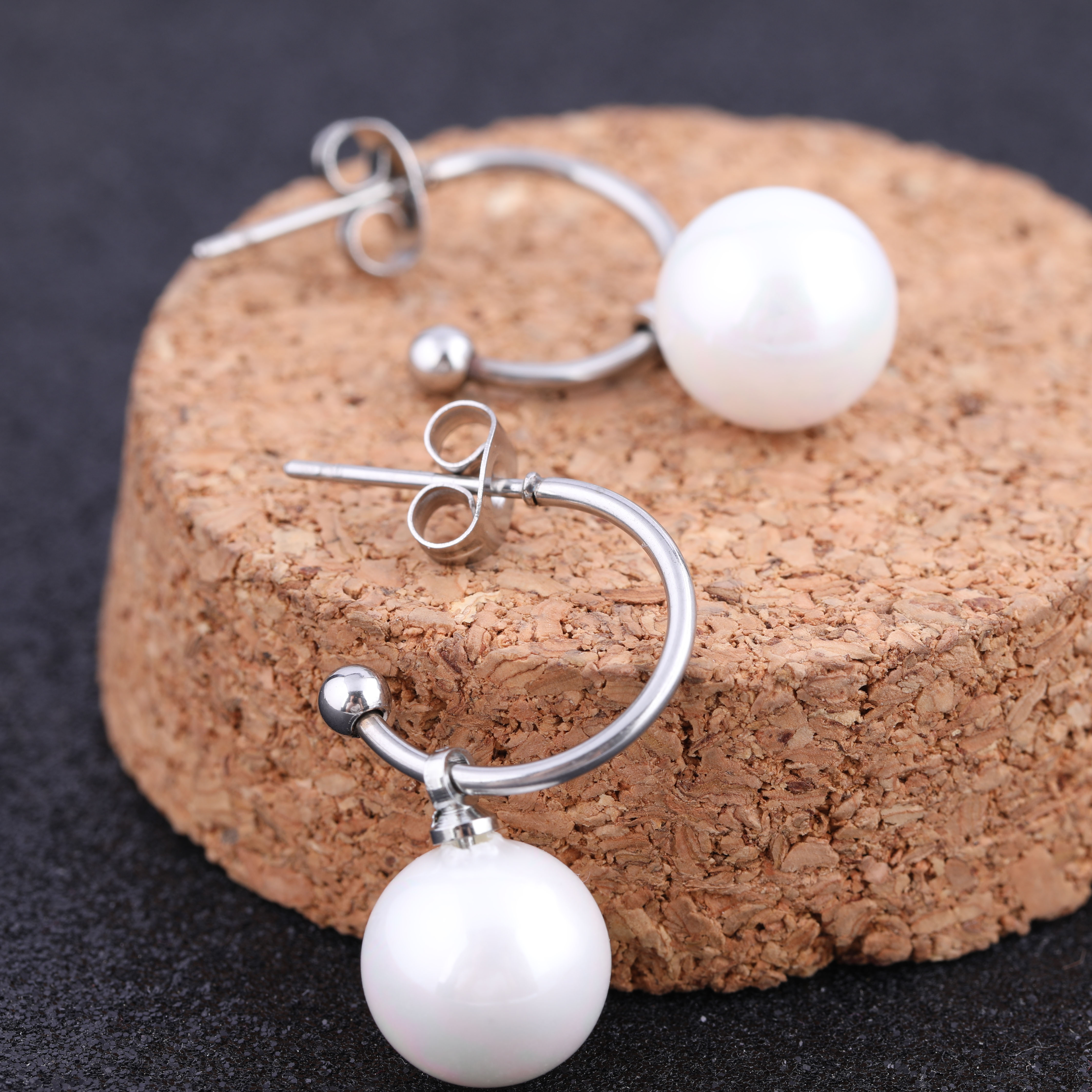 2019 Fashion New Stainless Steel simple trendy half circle dangle pearl earrings for women jewelry in Drop Earrings from Jewelry Accessories