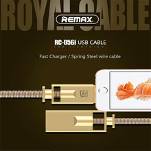 Remax spring steel wire of Zinc Alloy USB Cable Mobile Phone 2.1A Fast Charging Data sync Cable For iphone 6 6S 7 7s 8 Plus X XR