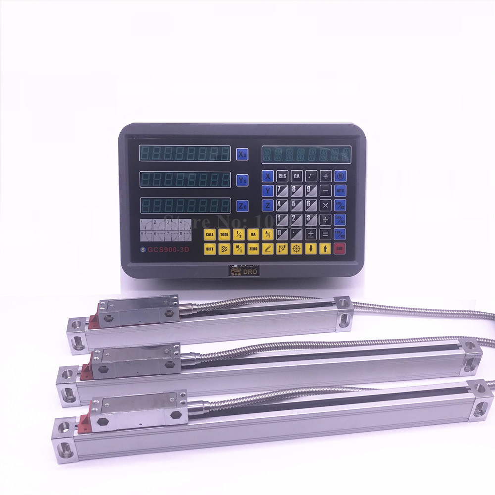 Lathe Milling machine Digital Readout DRO kit GCS900-3D Display With 3 Pieces 0-1000mm Digital Glass Scale Displacement Sensor