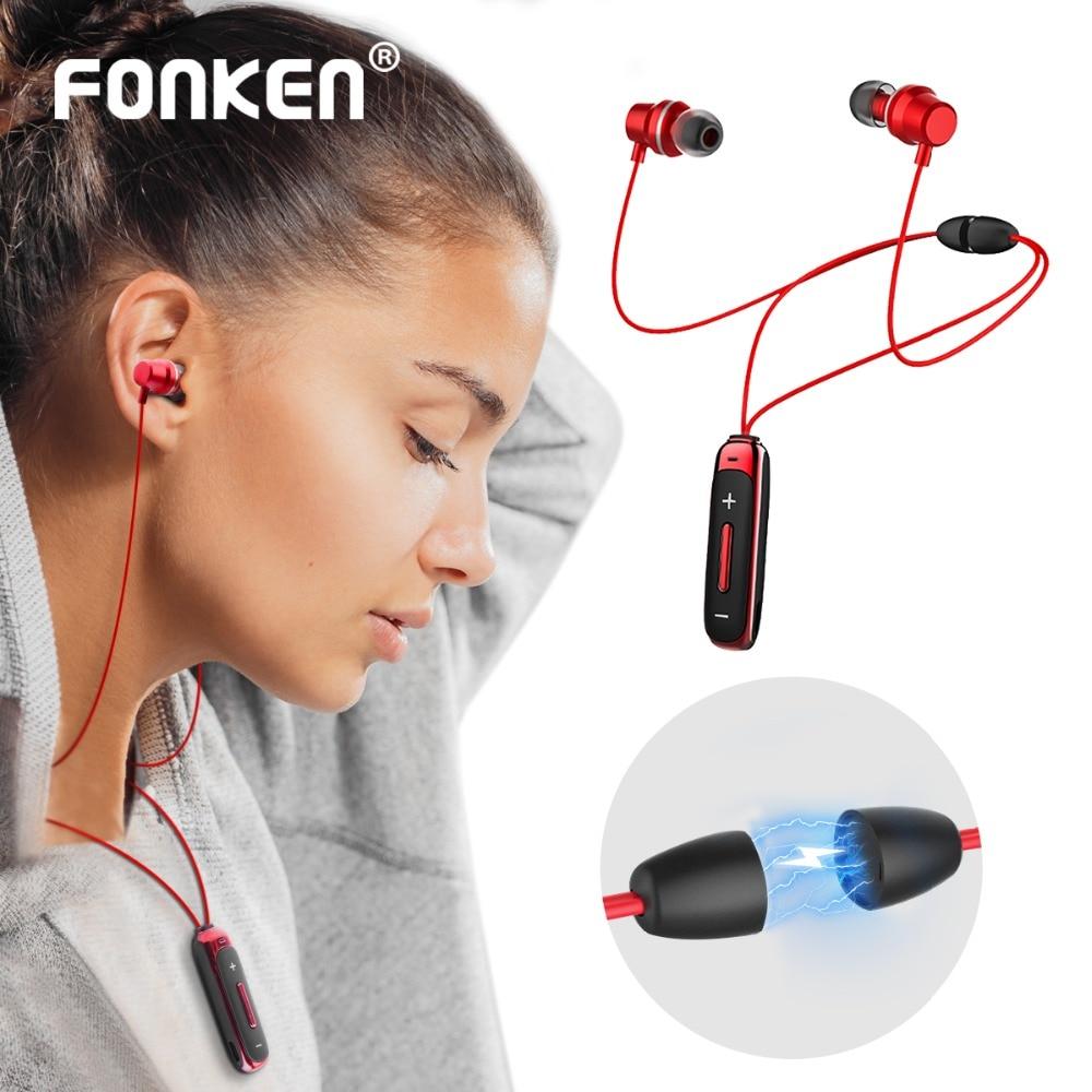 FONKEN TWS Wireless Bluetooth Earphone in-ear Magnetic Earphones with Mic Sport Necklace Earpiece in Ear Mobile Phone Earbuds