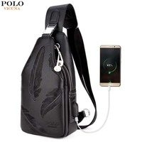 VICUNA POLO New Double Pocket Feather Chest Bag USB Charging With Headphone For Teenagers Boy High