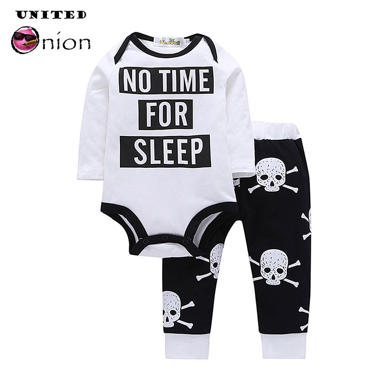 39a4bd7cc821a Fashion 0-3 Years Infant Baby Cool Boy 2 Piece Punk Clothes Set Letters  Print Romper+Skull Pants Long Sleeve Outfit Play Mats