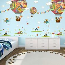 Colorful Hot Air Balloon Animal Nursery Room wall sticker Bear Giraffe children 's room cartoon classroom Wall Decals Poster